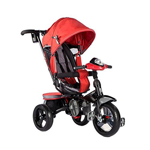 Evezo 4-in-1 Parent Push Tricycle for Stroller Seat, Reclining Seat, 5-Point Safety Full Canopy, LED Headlight, Storage Bin