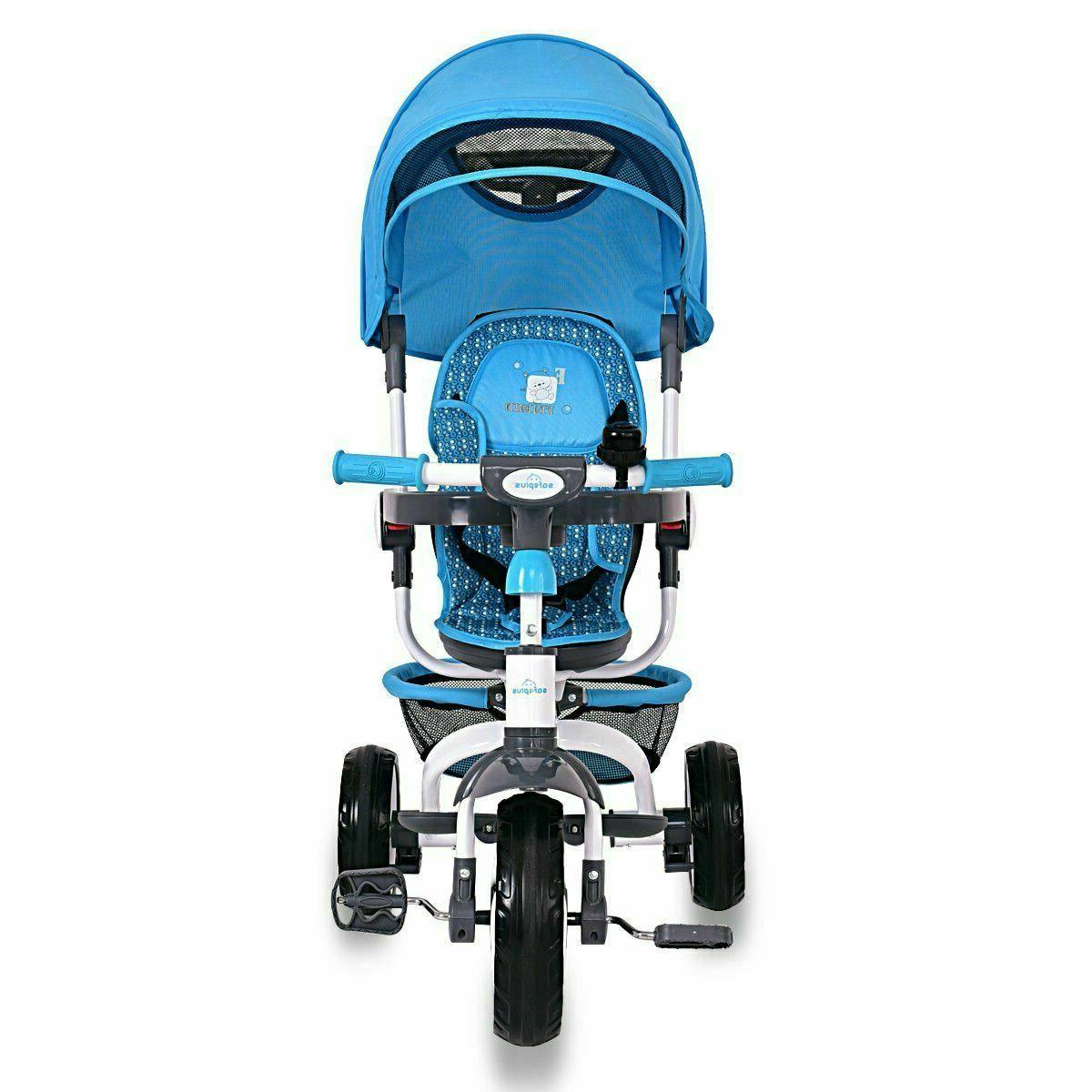 4-in-1 Detachable Tricycle with Canopy