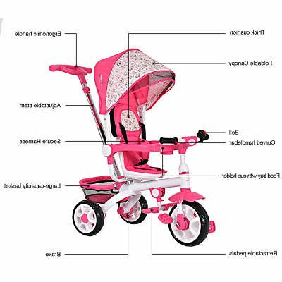 4-In-1 Baby Stroller Tricycle Learning Toy Bike Canopy