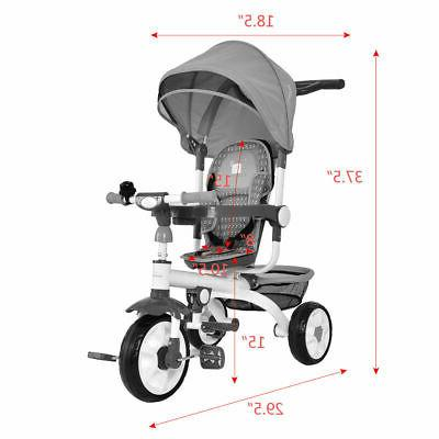 4-In-1 Stroller Tricycle Detachable Learning Bike