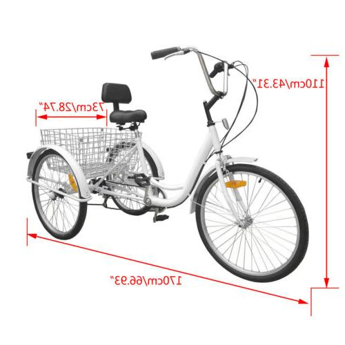 "6/7-Speed 24"" Adult Tricycle Bicycle With"