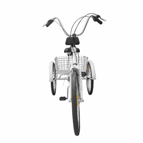 "6/7-Speed 24"" Adult 3-Wheel Tricycle With Basket"