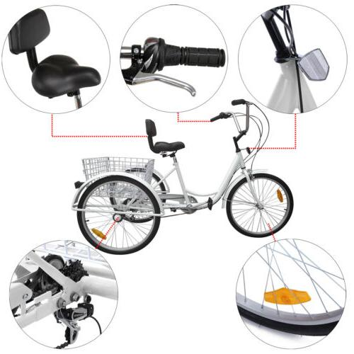 "6/7-Speed 24"" 3-Wheel Tricycle Cruise Bike Bicycle With Basket"