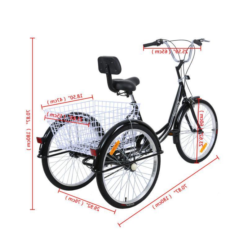"7-Speed 24""/26"" 3-Wheel Tricycle Trike Cruise Basket"