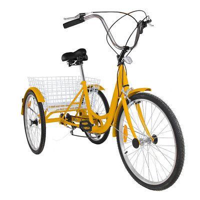 """7-Speed 24"""" 3-Wheel Adult Tricycle Bicycle Bike W/ Basket"""