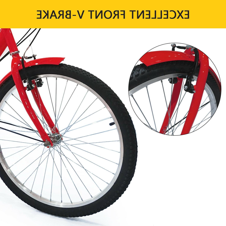 """24"""" Tricycle 1&7 Speed Wheels Bicycle Bike US"""