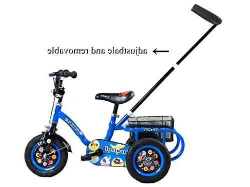 Tauki Kids Tricycle Adjustable Push Bar and Rear Baskets, Trike 2 4 Old Boys Grils, Inch Wheels,
