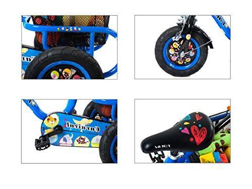 Tauki Kids Adjustable Rear Baskets, Toddler Trike for 4 Years Old Boys Inch Blue