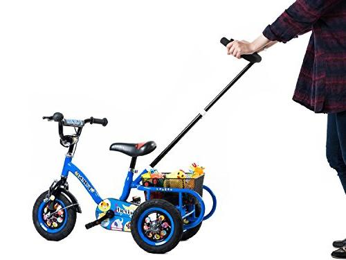 Tauki Kids Adjustable Push and Rear Ride-On 4 5 Boys Inch Wheels, Blue