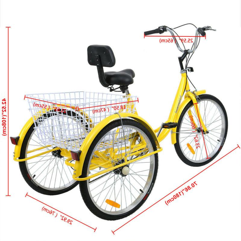 24'' Wheel Adult Tricycle Trike 300LBS Shimano Ridgeyard