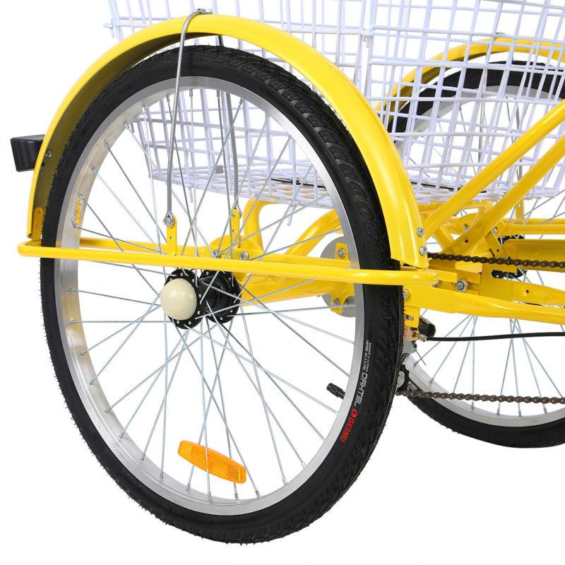 "24"" 7 Speed Bicycle Trike Cruiser Basket Backerest"