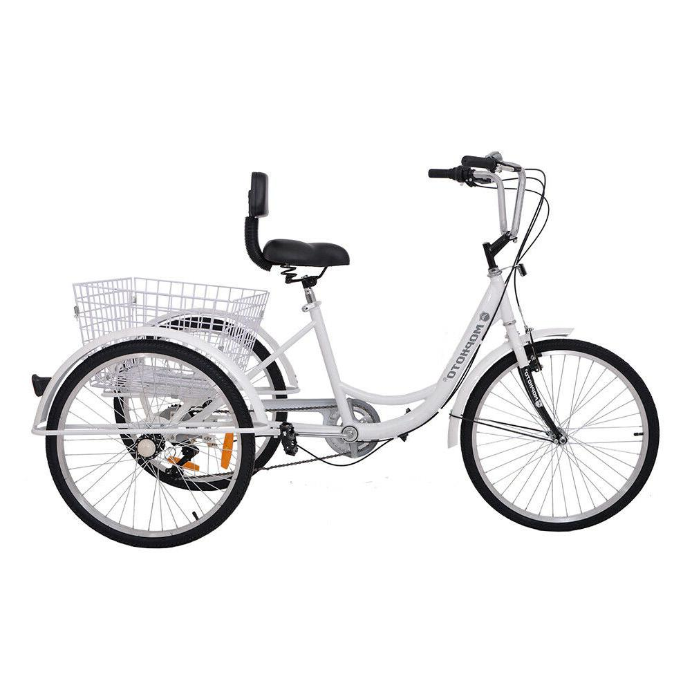 "Adult 24"" 7-Speed Tricycle Trike Bicycle Bike With"