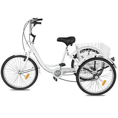 "Adult 26"" Wheel 7 Speed Wheels White Trike w/ Basket"