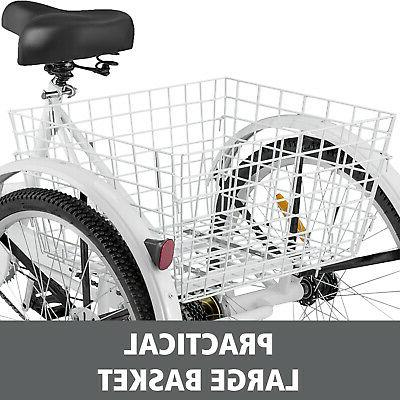 Adult Tricycle 7 Speed 3 White Trike w/