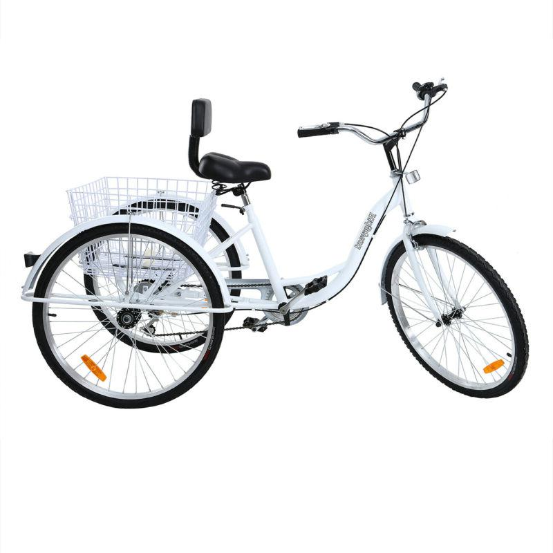 "Adult 26"" 3-Wheel Tricycle Shimano 7-Speed Trike Bike"