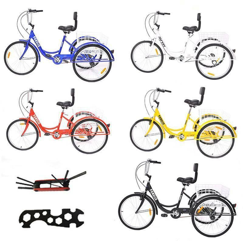 """Adult 7-Speed Adult24"""" 3-Wheel Tricycle Trike Bicycle Bike C"""