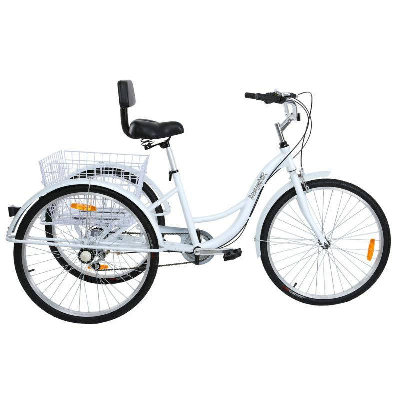 "26"" Adult 3-Wheel Tricycle Cruise Double Basket White"
