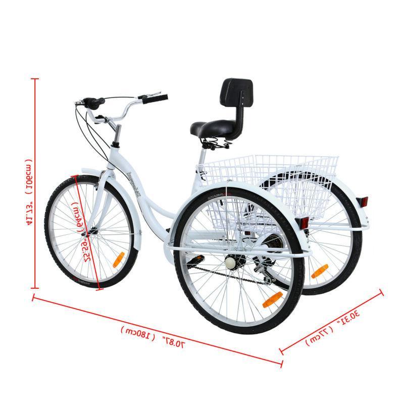Adult 7 3-Wheel Tricycle Trike Bicycle Bike Aluminum Alloy