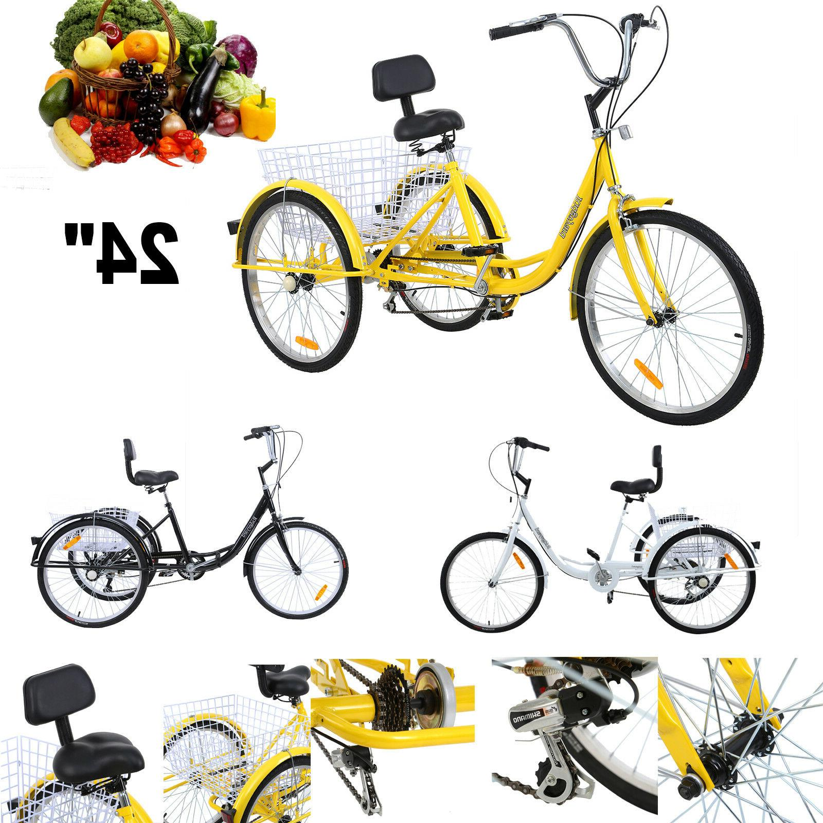 "Adult  7-Speed Adult 24"" 3-Wheel Tricycle Trike Bicycle Bike"