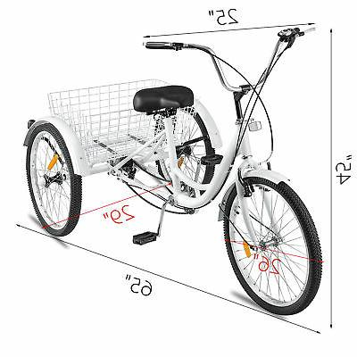 Adult Tricycle Wheel 7 White Bicycle Trike Cruiser w/ Basket