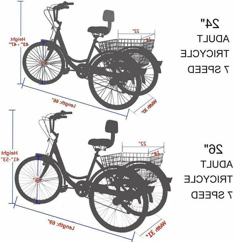 14''16''20''24''Adult 1/7 Speed 3-Wheel Bike Cruise
