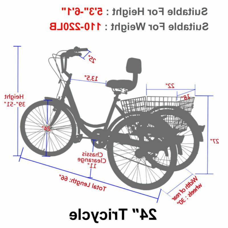 14''16''20''24''Adult Tricycles 3-Wheel Cruise Elder/Teen