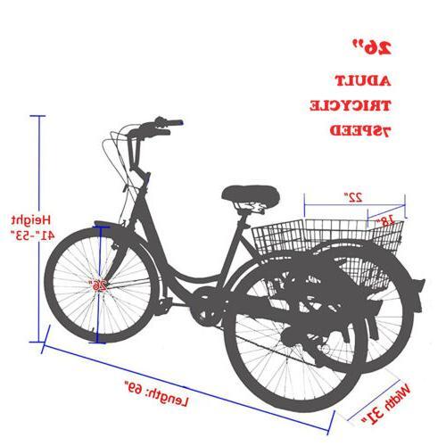 Adult 3-Wheel Trike Bike Cargo Red