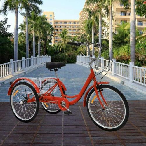"Adult 3-Wheel Trike Bike Cruiser Cargo Basket 20""24""26"""
