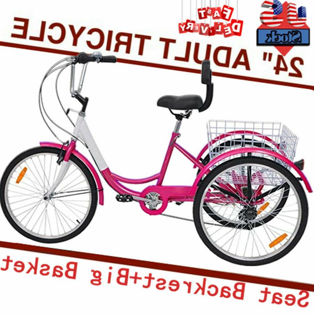 Adult 7Speed Tricycle 24in Trike Cruise Bike 3Wheel Cycle W/