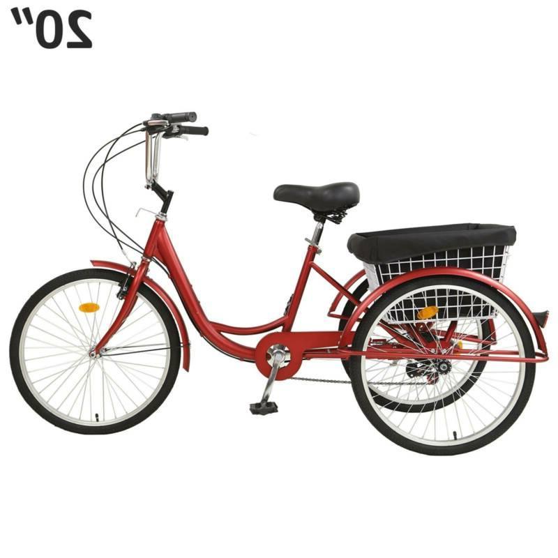 Adult Tricycles Three Wheel Trike Bike Cruiser Speed 20″ Basket