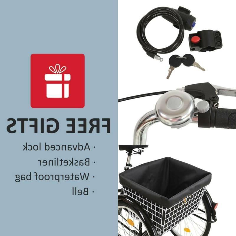 Adult Three Wheel Trike Bike Speed 20″ Basket RED
