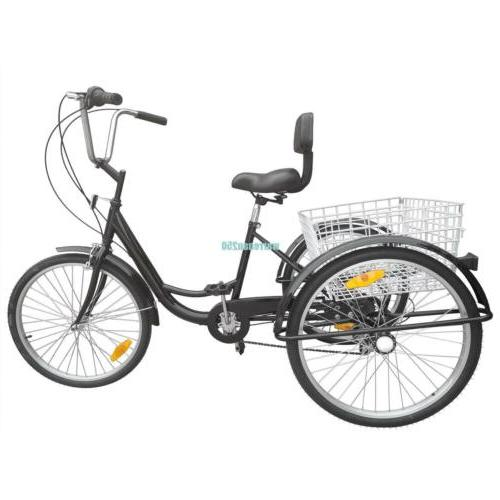 "Black 24"" Tricycle Bicycle Trike Cruise"