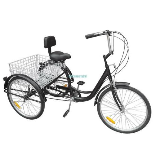 "Black 3-Wheel 6-Speed Adult 24"" Tricycle Bike Bicycle Trike"