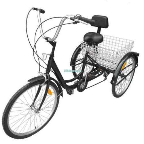 "Black 6-Speed 24"" Bicycle Trike"