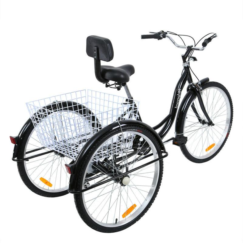 "Black Frame Shimano 7-Speed Adult 26"" 3-Wheel Tricycle Trike"
