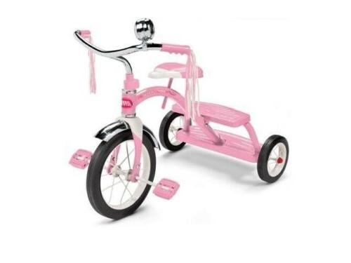 """Radio Flyer Classic Pink 10"""" Dual Deck Tricycle, Toddler Kid"""
