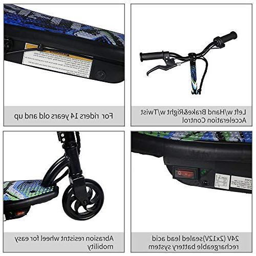 TOYEEKA 120W Kids Scooter Electric Bike Toy w/2 12V Powered