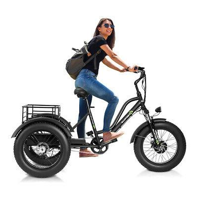 Electric Adults Tricycle Fat Tire LCD 500W Motor