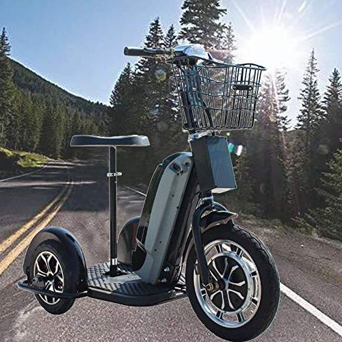 Rugged Electric Trike 48v 800w Mobility Led Seat Basket