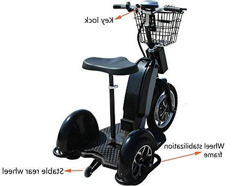 Rugged Electric Trike 800w Adult Mobility Led Light Sit/Stand Tricycle,Adjustable Seat Motor Trike with Basket