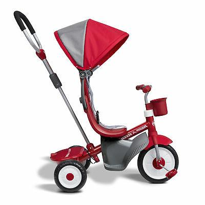 Radio Flyer 4-in-1 Stroll 'N Infant Toddler Stroller Tricycle, Red