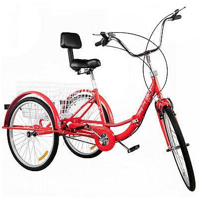 Foldable Adult 24'' 26'' 1/7 3-Wheel Folding Trike Bike w/Basket