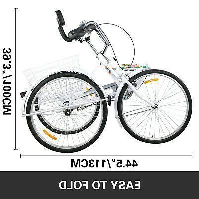 Foldable Adult 26'' Speed 3-Wheel Folding Trike Bike