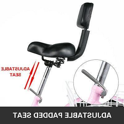 Foldable Adult 24'' 26'' Speed 3-Wheel Folding Trike Bike w/Basket
