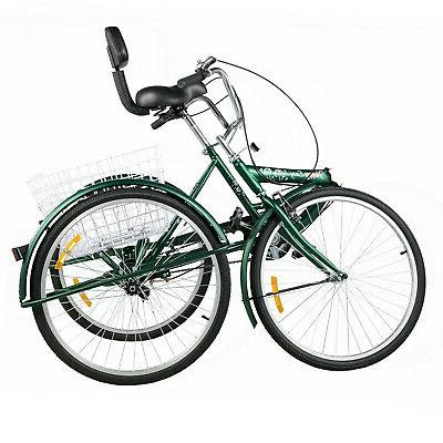 Foldable Tricycle 24'' 26'' 1/7 Speed Folding Trike