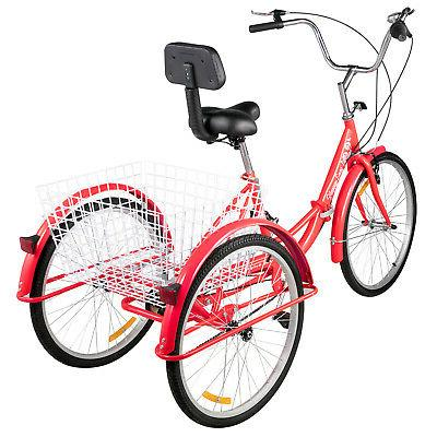 Foldable Tricycle Adult Wheels Tricycle 3 Red