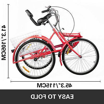 Foldable Tricycle Wheels Folding Tricycle 1-Speed 3