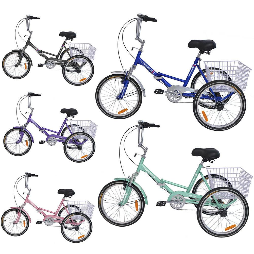 20'' Folding Bike Adult Tricycle 7 Speed 3-Wheel Bicycle Tri