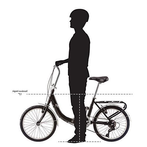 Schwinn Loop Adult Folding Bicycle, 20-Inch Wheels, Black