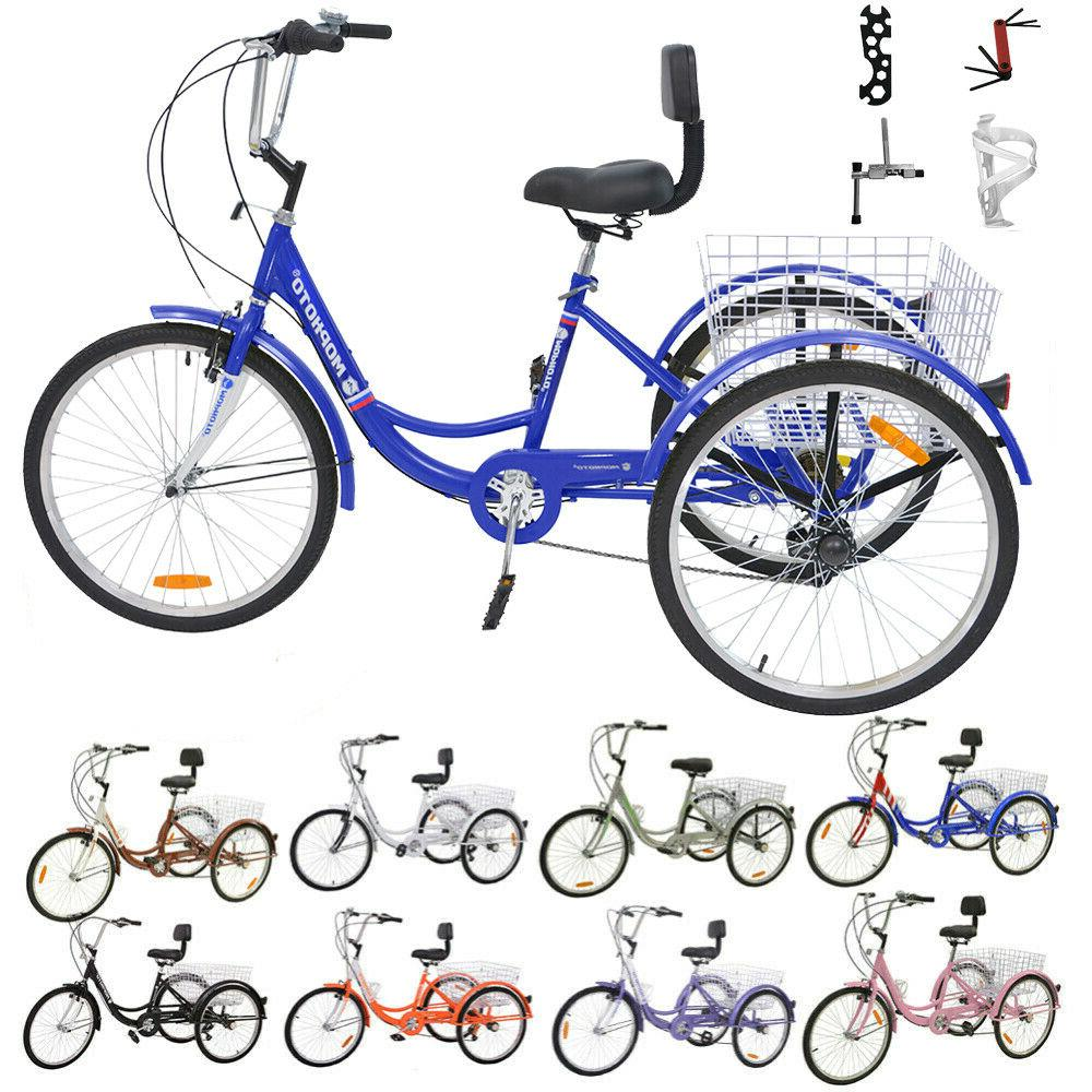 16/20/24/26 inch 1/7 Speed Unisex Adult Tricycle 3 Wheel Bic